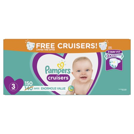 Pampers Cruisers Diapers Size 3 Bonus Pack 150 Count
