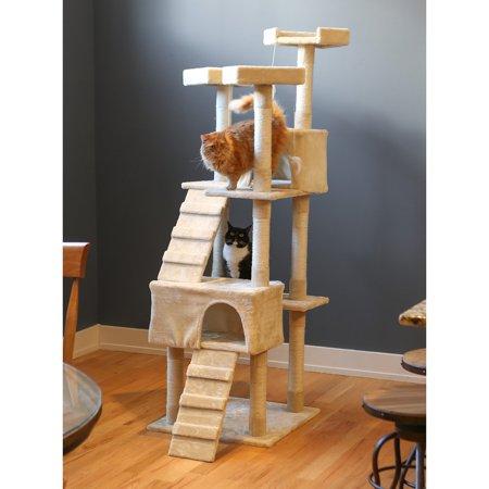 Boomer & George Whiskers 72 in. Cat Tree - Beige (Cat Whiskers Makeup Halloween)