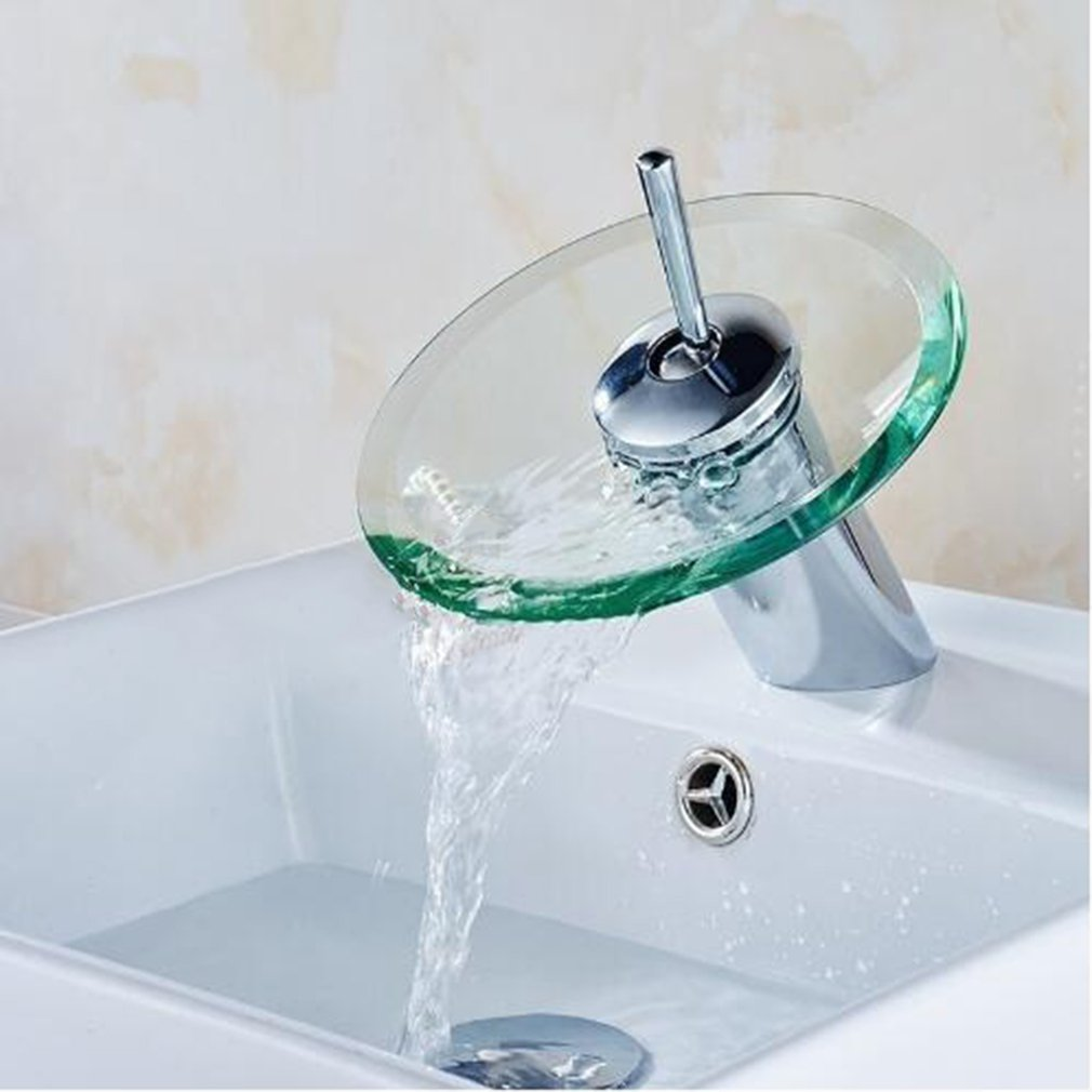 Bathroom Kitchen Sink Round Glass Waterfall Faucet Brass Chrome ...