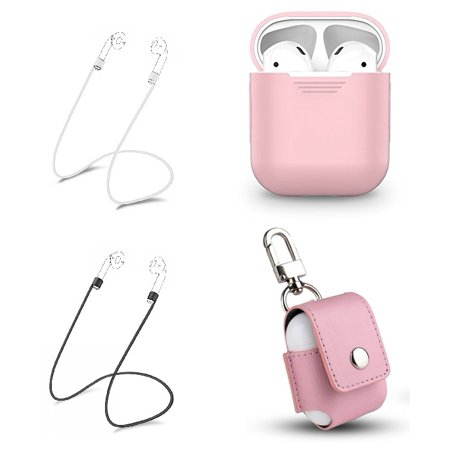 Tiehnom Airpods Accessories Protective Bundle, Airpods Silicone Case, Airpods PU Leather Keychain Case, 2 Airpod Anti-Lost Straps For Apple Airpods (Pink)