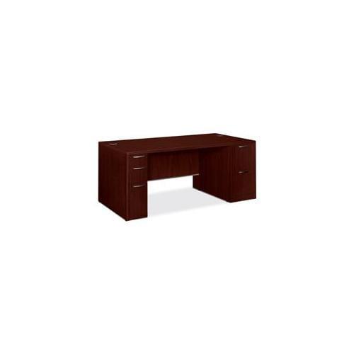 "11899C3NN HON 72""W x 36""D x 29 1 ?2""H Double Pedestal Desk - 72"" Width x 36"" Depth x 29.5"" Height - Double Pedestal - Cove Edge - Particleboard, Wood Grain - Laminate, Mahogany"