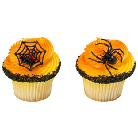 Ghoulish Spider and Web Cupcake Rings - 24 Count](Spider Cupcakes)