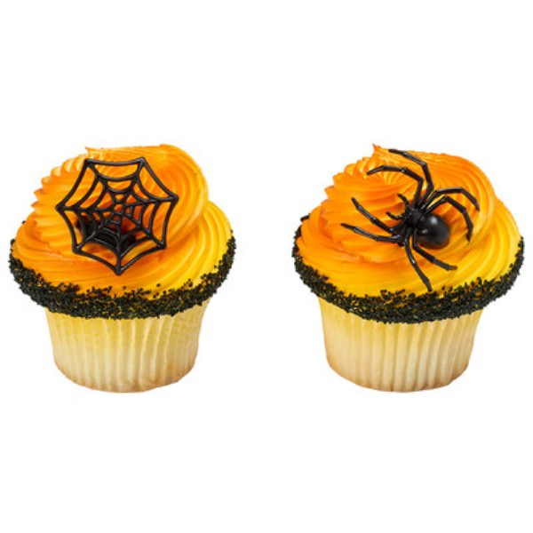 Ghoulish Spider and Web Cupcake Rings - 24 Count