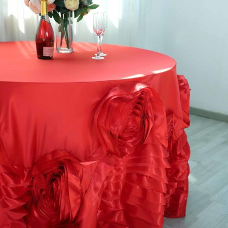 "BalsaCircle 120"" Round Large Raised Roses Lamour Satin Tablecloth for Party Wedding Reception Catering Dining Home Table Linens"
