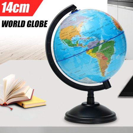 "14cm/ 5.51"" World Globe Blue Ocean Atlas Map Rotating Earth Geography Educational Toy Kids Gift"