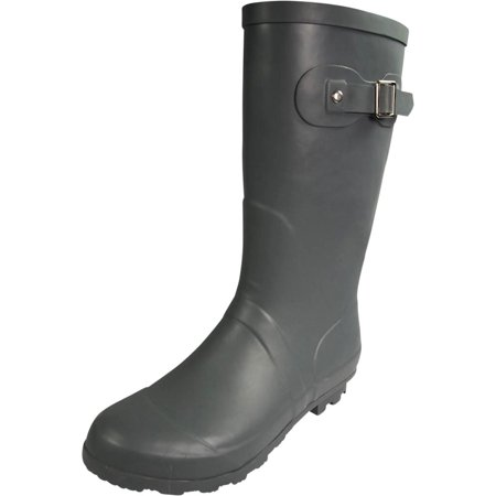 Norty Womens Rain Boots - Ladies Hurricane Wellies - 14+ Solids and Prints - Glossy Waterproof or Matte Finish Mid-Calf Rainboots - Wellington keep your feet Warm and Dry for (Bluewater Boots)
