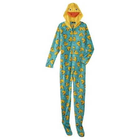 Womens Blue Yellow Duckie Blanket Sleeper Duck Pajama Hooded Union Suit