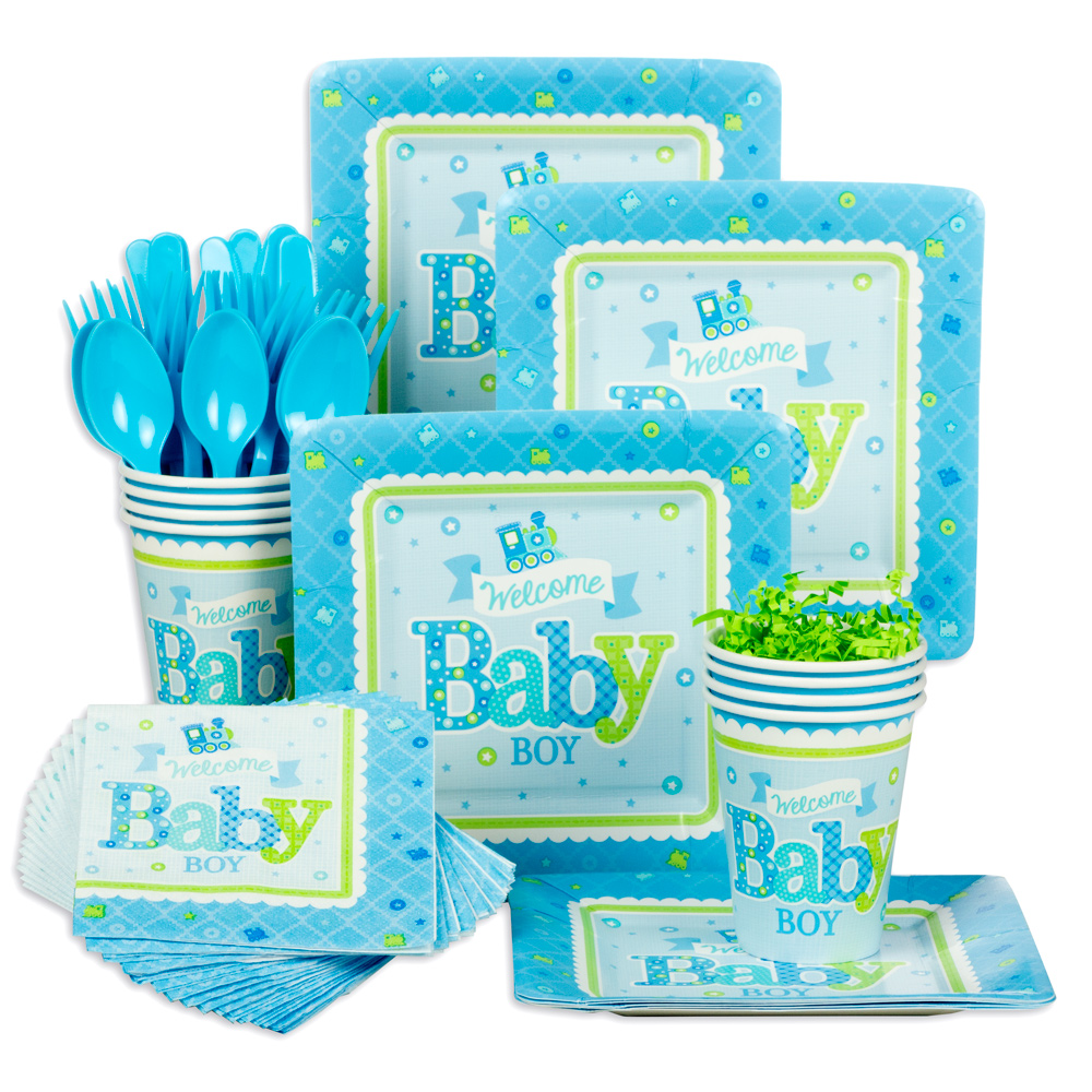 welcome little one boy baby shower standard tableware kit serves, Baby shower invitation