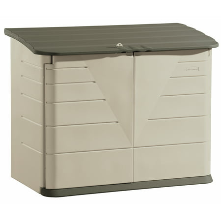 Rubbermaid Large Horizontal Storage Shed, Olive & Sandstone