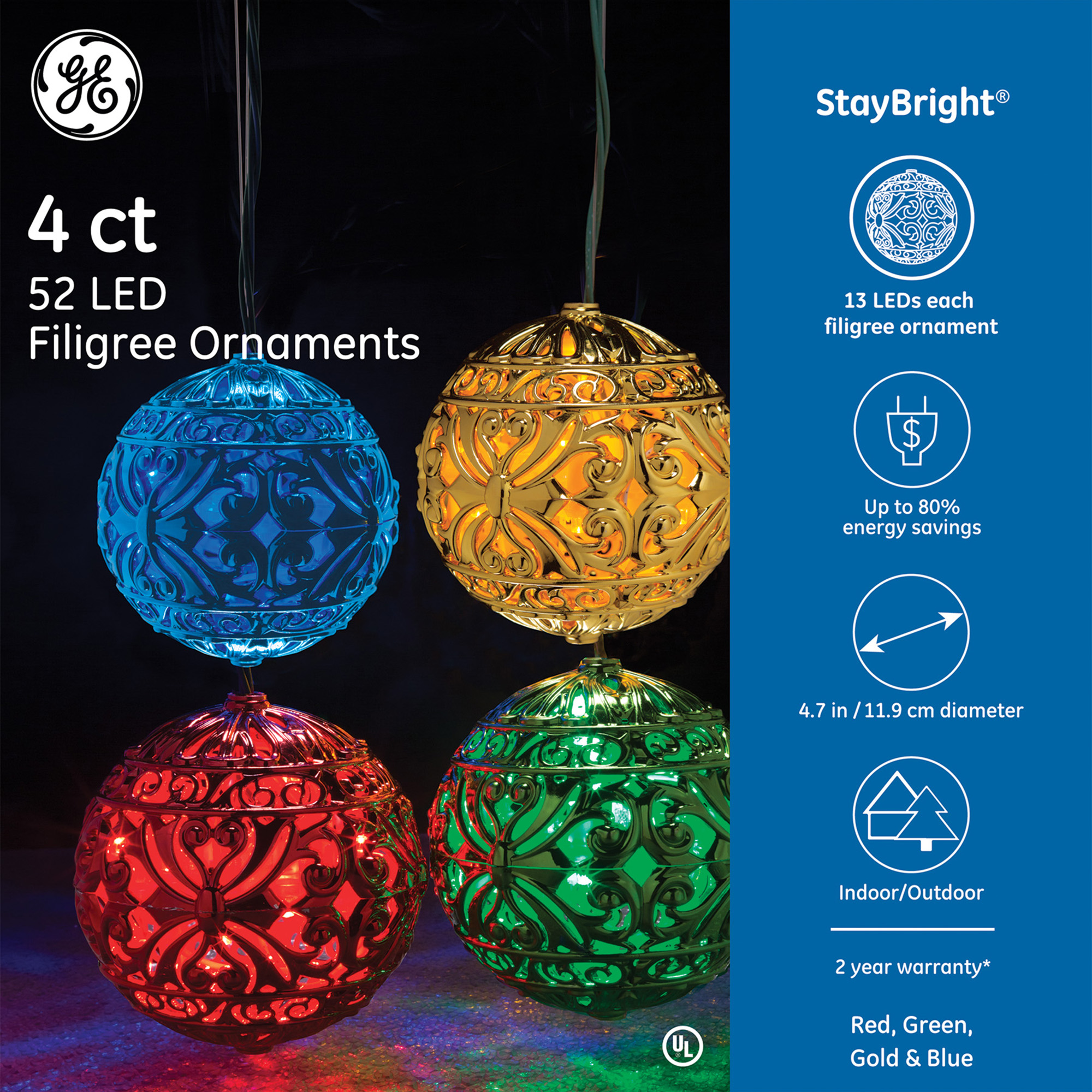 GE 4CT 52 LED Filigree Ornaments, Mixed Color Set