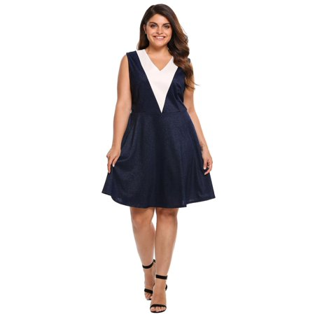 Women V-Neck Sleeveless Patchwork Cocktail Party Fit and Flare Dress Plus Size