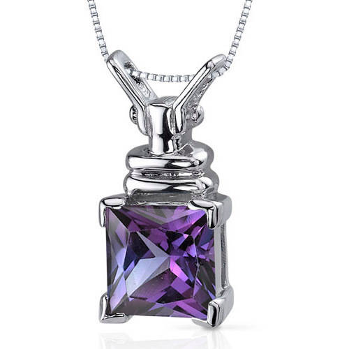 Oravo 3.25 Carat T.G.W. Princess-Cut Created Alexandrite Rhodium over Sterling Silver Pendant, 18""