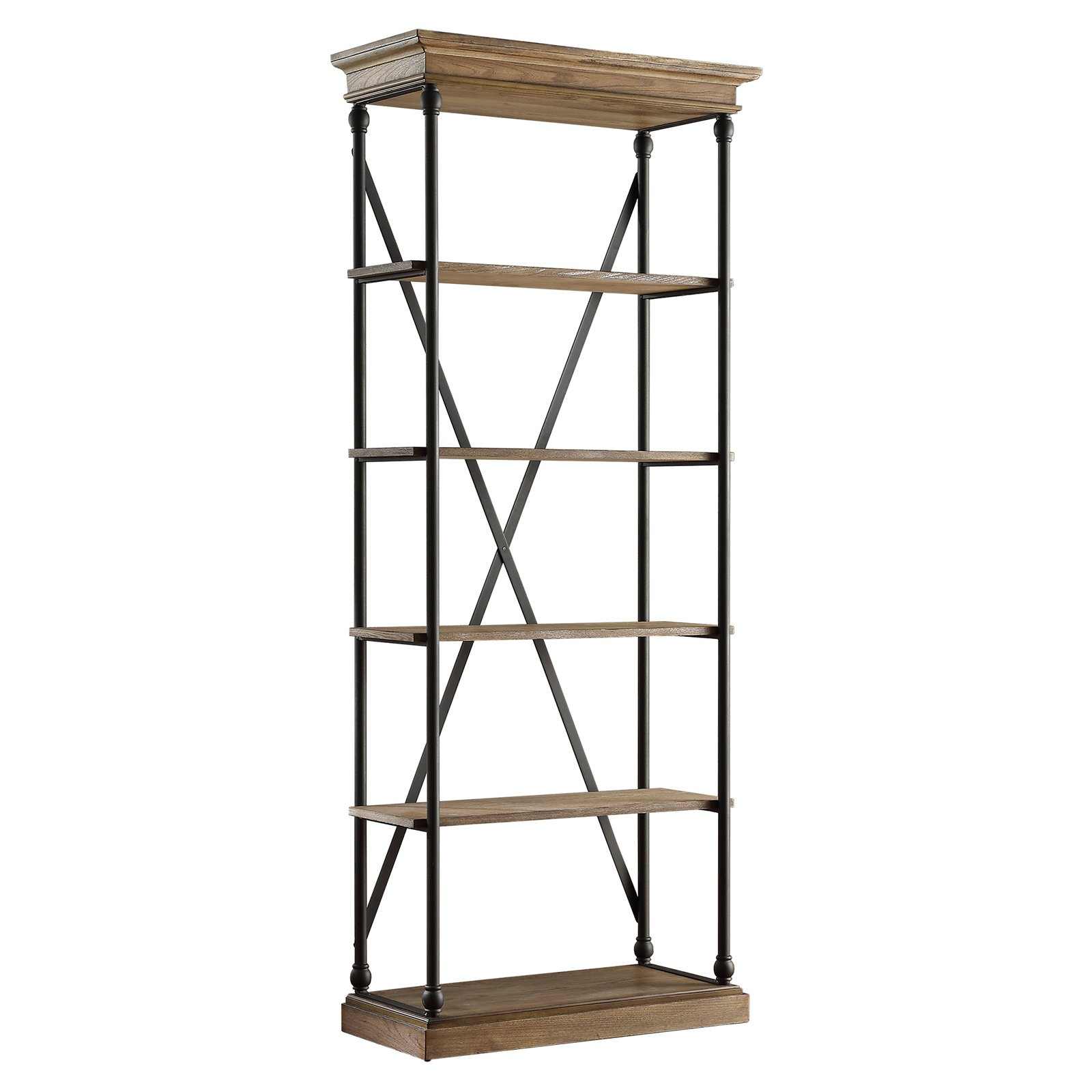 Weston Home Oak Driftwood Shelving Bookcase