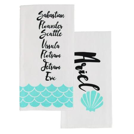 Little Mermaid Princess Ariel Themed Kitchen Towel Set – Set of 2, Cotton Towels- Soft, Lightweight and Easy-Care (Ariel Tea Set)