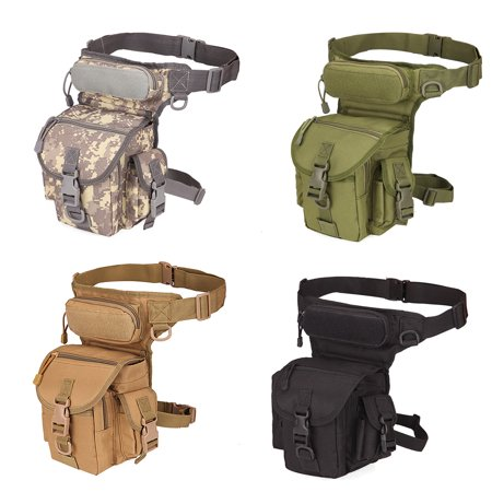 Tactical Military Leg Bag Men's Nylon Hip Drop Belt Waist Fanny Vintage Hip Pack Messenger Hiking Bag Waterproof - Multiple pockets with zipper opening
