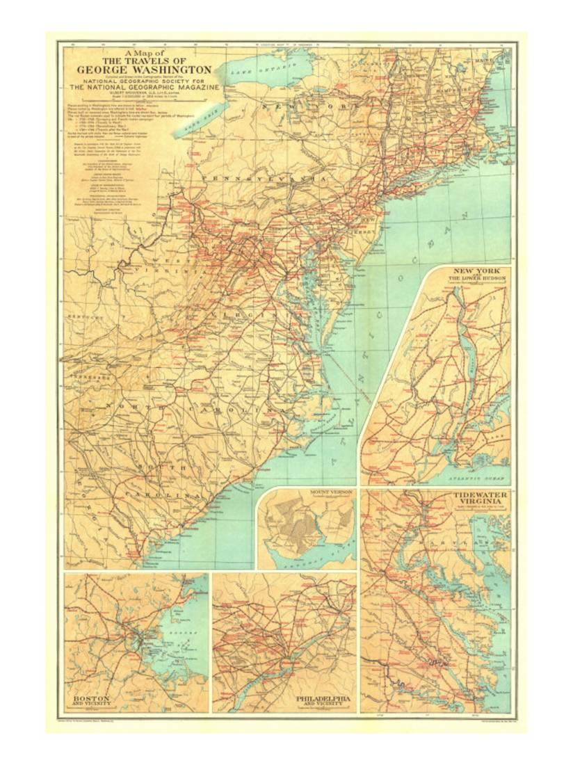 Washington Map Society.1932 Travels Of George Washington Map Print Wall Art By National