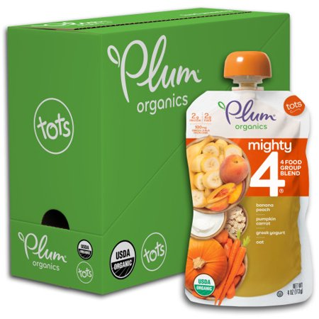 Organic Peach (Plum Organics Mighty 4, Organic Toddler Food, Banana, Peach, Pumpkin, Carrot, Greek Yogurt & Oat, 4oz (Pack of 6) )
