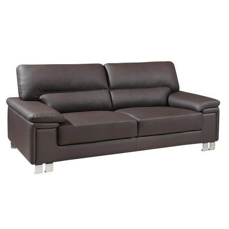 Brown Premium Leather Match Sofa Modern Global United 9399