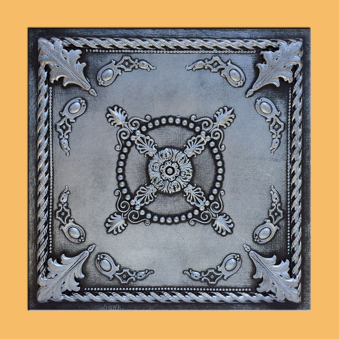 Jewel Antique Silver Black PVC Ceiling Tiles for Drop in Grid System (10 pack)