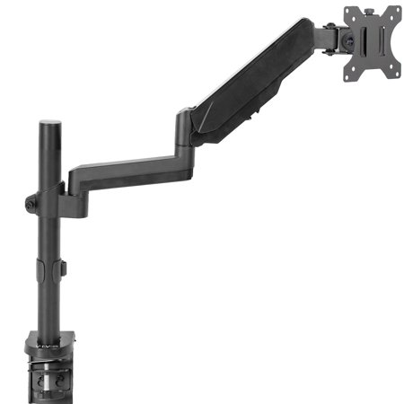 VIVO Black Single Monitor Pneumatic Spring Arm Sit-Stand Desk Mount for One Screen up to 32