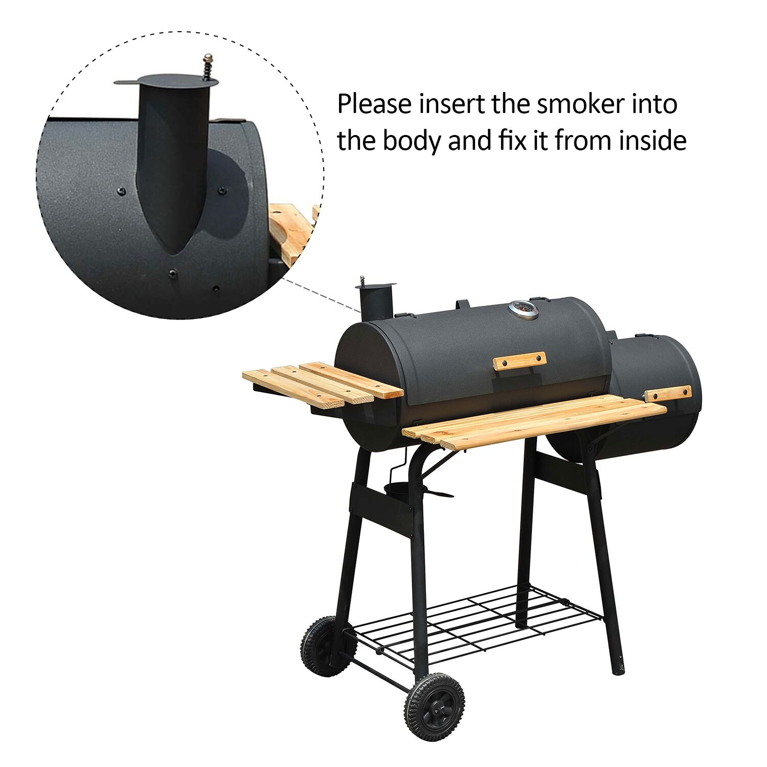 Outsunny 01-0329 Backyard Charcoal BBQ Grill/Offset Smoker Combo ...