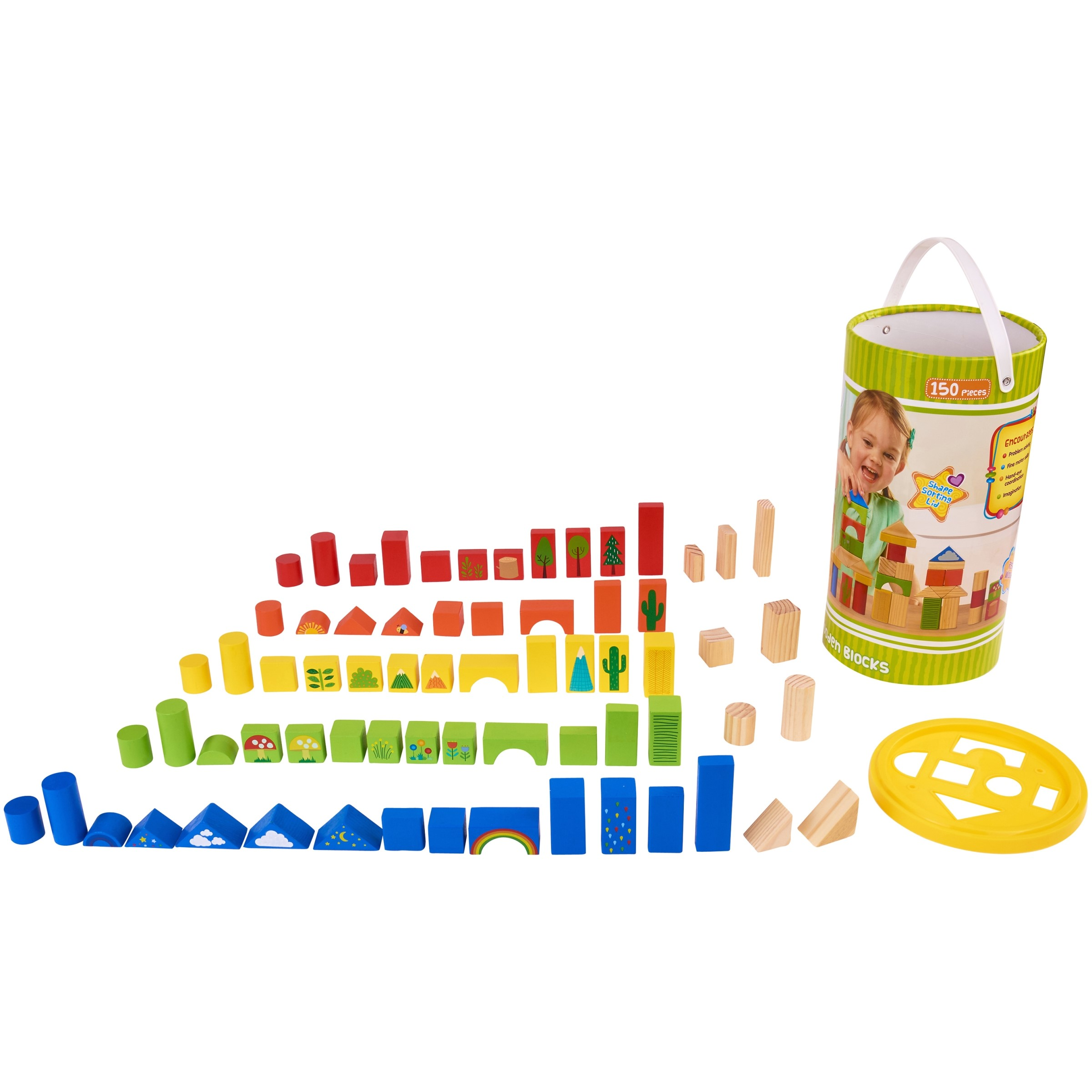 Spark .Create. Imagine. 150-Piece Wooden Blocks Set, Designed for Ages 24 Months and Up