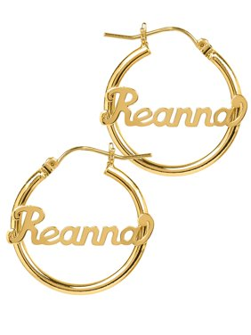 d20727ec3 Product Image Personalized 14K Gold Over Sterling Silver Tube Hoop Script  Name Earrings