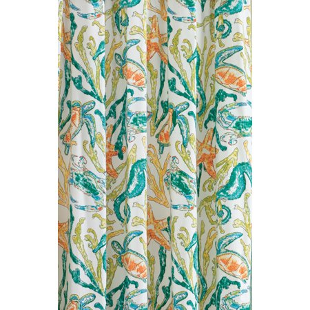 Tidal Pool Seahorse Crab Coral Teal Lime Orange Shower Curtain Cotton 72 Inch