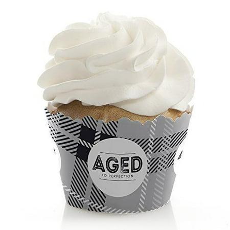 Milestone Party (Milestone Happy Birthday - Dashingly Aged to Perfection - Birthday Party Cupcake Wrappers - Set of)