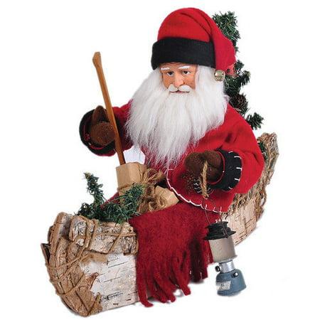 Santa's Workshop Santa in a Canoe