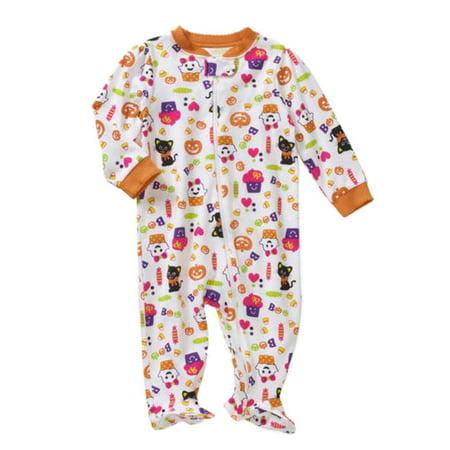 infant girls white orange halloween sleeper ghost cat pajamas sleep n play 3 6m walmartcom