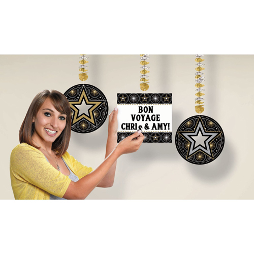 Hollywood 'Glitter Starz' Customizable Hanging Cutout Decorations (3ct)