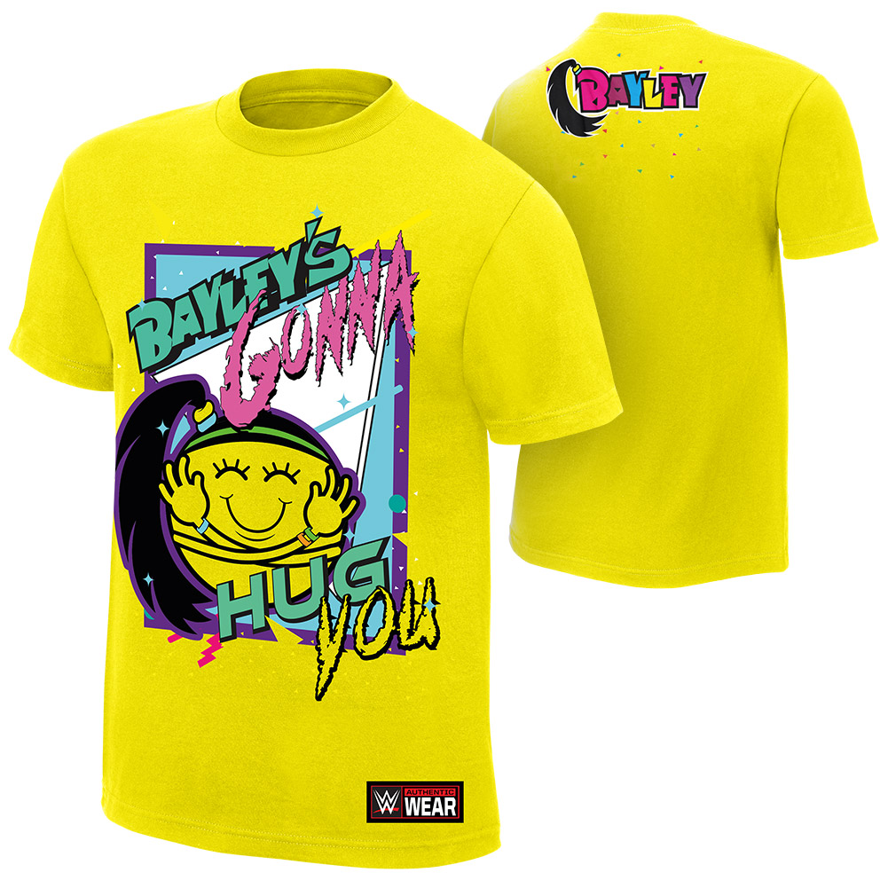 """official wwe authentic bayley """"bayley's gonna hug you""""  t-shirt yellow"""