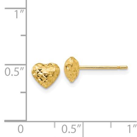 14K Yellow Gold Diamond Cut Puffed Heart Post Earrings - image 1 of 2