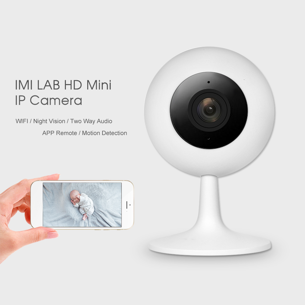 IMI LAB HD 720P IP Camera WIFI Camera Support Infrared IR Night Vision PTZ Two Way Audio Phone APP Remote Monitoring Mini&Super-light Design for Home Office Baby Pet Monitoring,White