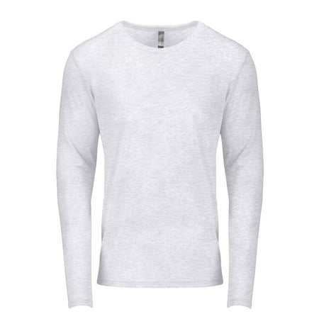 Branded Next Level Mens Triblend Long Sleeve Crew - HEATHER WHITE - XL (Instant Saving 5% & more on min 2) (Crew Heather)
