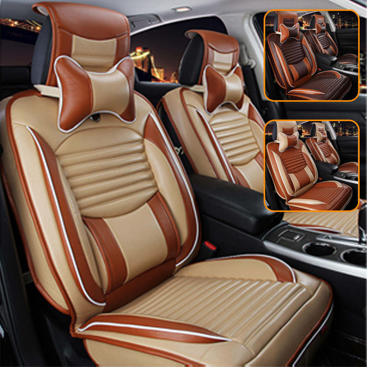 13Pcs Universal car seat set 5 Seat Car PU Leather Full Surround Cover Cushion + Pillows Trim Set