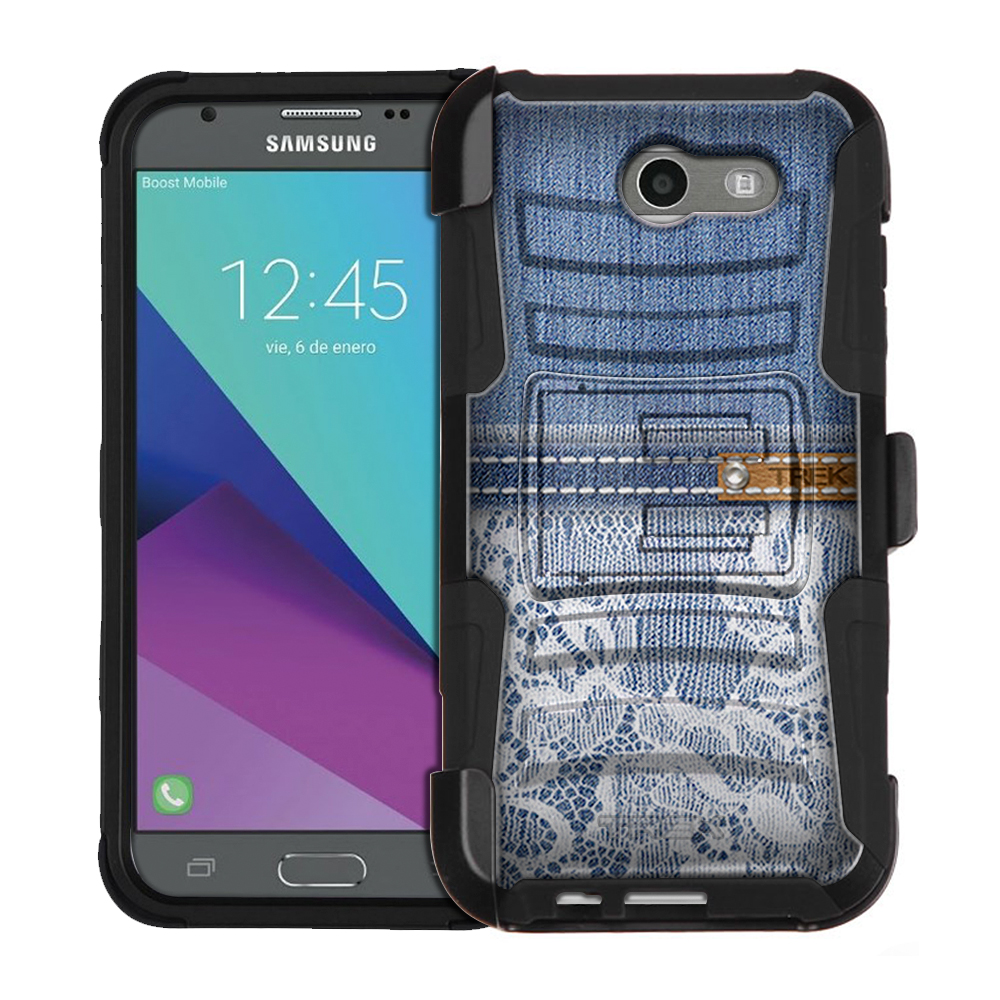 Samsung Galaxy J7 V Armor Hybrid Case - Delicate Lace on Washed Out Jeans