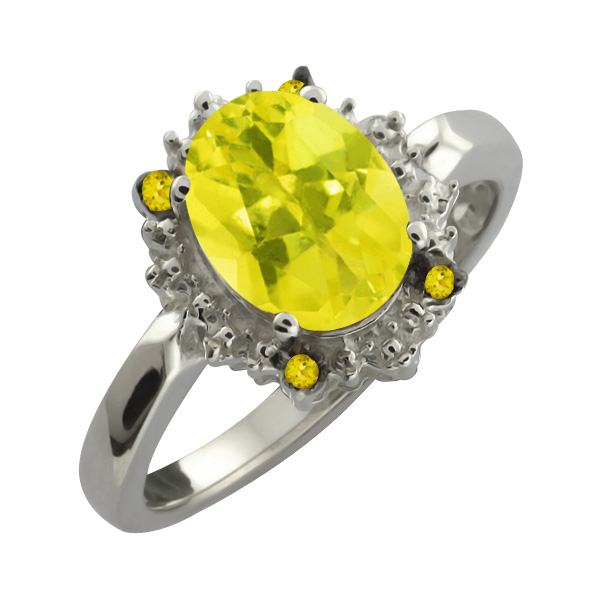 2.32 Ct Oval Canary Mystic Topaz and Canary Diamond Sterling Silver Ring