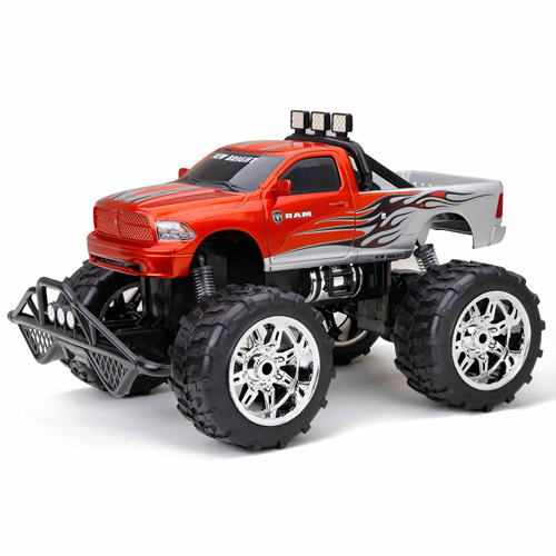 New Bright 1:10 R/C F/F Dodge Ram Truck, Silver/Orange