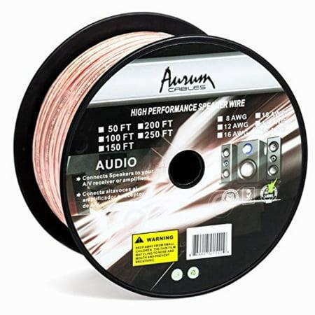 Aurum Cables 14 Gauge Transparent PVC Speaker Zip Wire w ft markings every 5 ft 100 feet ()