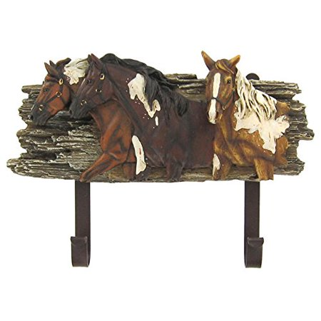 Horse Wall Hanger with Hooks Polyresin Decoration Entryway Media Room Man Cave Theater Room Library (Horse Decorations)
