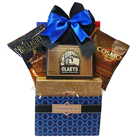 Thank You Desk Caddy Coffee and Treats Gift Basket, (Candy Option)
