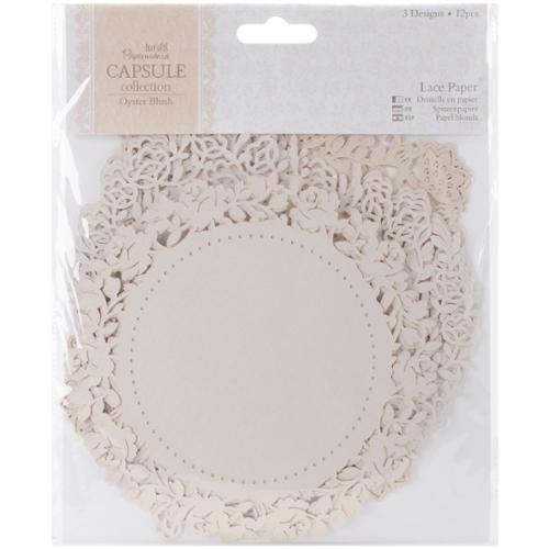 "docrafts Papermania Oyster Blush Die-Cut Lace Paper 5.5"" 12/Pkg"