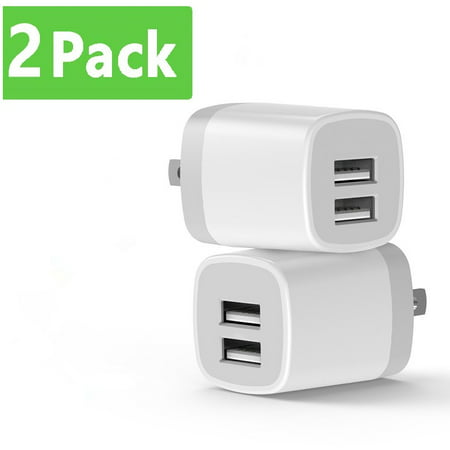USB Wall Charger, dual USB Charger Adapter, Vogek 2-Pack 3.1Amp Dual Port Quick Charger Plug Cube Replacement for Cell Phone, MP3, Bluetooth Speaker Headset and More Bluetooth Headset Car Charger Adapter