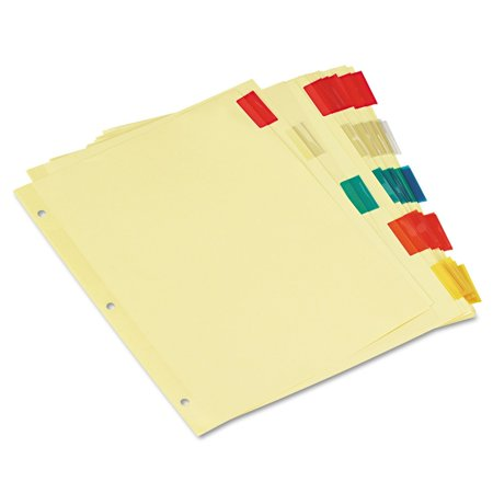 Blank Self Tab - Economical Insertable Index, Multicolor Tabs, 5-Tab, Letter, Buff, 6 Sets/Pack (21870), Three-hole punched, buff sheets with blank tab inserts. By Universal