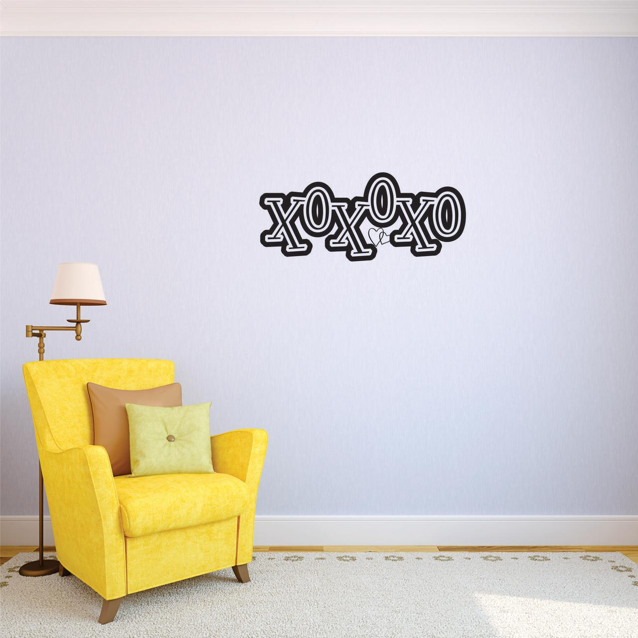 Custom Decals Xoxoxo Wall Art Size: 8 Inches x 20 Inches Color: Black
