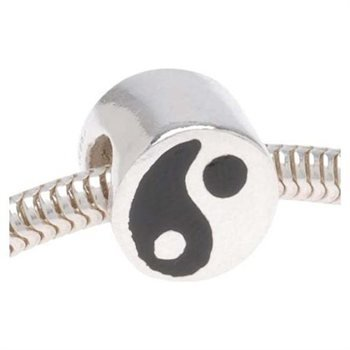 Black And White Enamel Ying Yang Charm Bead. Fits Troll, Biagi, Zable, Chamilia, And Pandora Style Charm Bracelets.