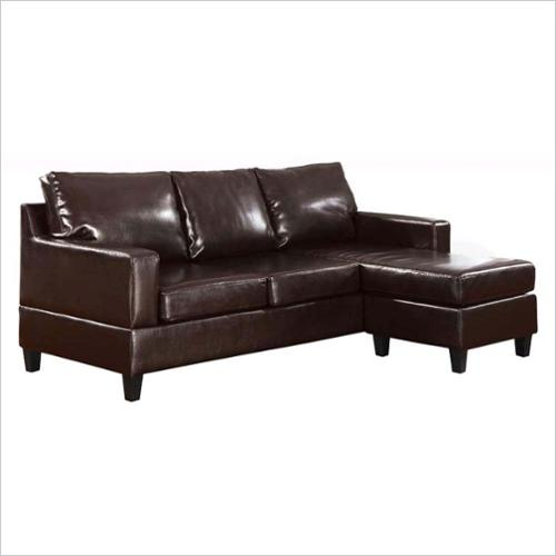 ACME Furniture Vogue Leather Reversible Chaise Sectional in Espresso