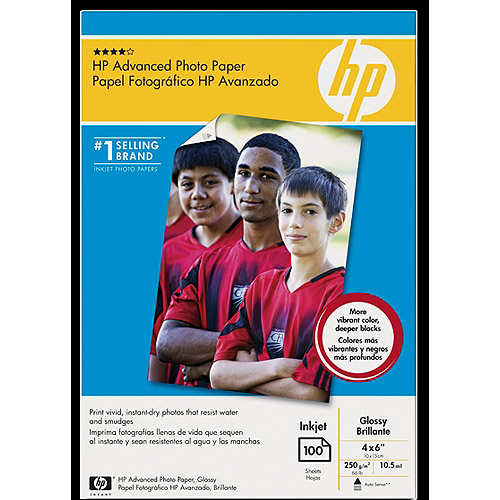 HP Q6638A Advanced Photo Paper, Glossy (100 sheets, 4 x 6-inch, borderless)